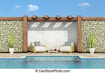 Relax in a garden with swimming pool - Garden with stone...