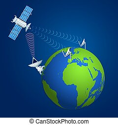 colorful satellite broadcasting concept illustration -...