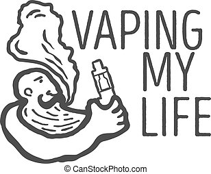 Monochrome logo of the person with an electronic cigarette...