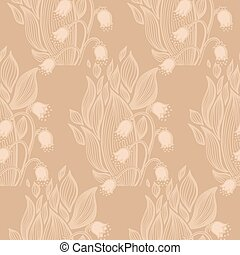Lilies of the valley flower. Wallpaper textile pattern.