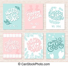 vector set of hand drawn easter greeting cards with lettering, flower branches and rabbit