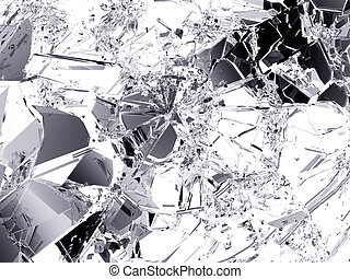 Shattered glass: sharp Pieces on white Large resolution