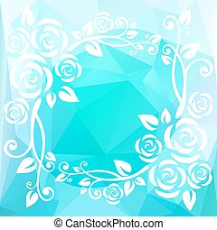 light blue border - Abstract floral border on a light blue...