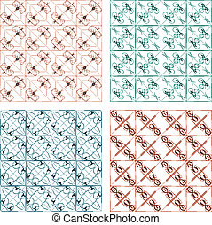 Set of vintage calligraphic abstract pattern set vector...