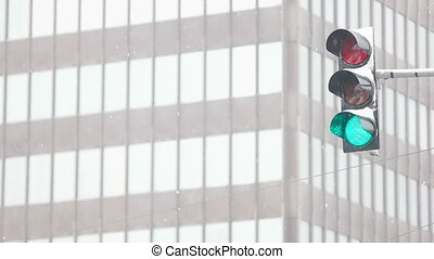 Green Light in Front of Office Building - Slowed down shot...