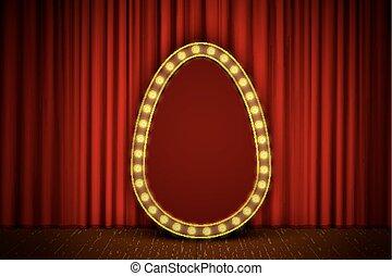 golden egg stage - Golden egg with light bulbs on red velvet...