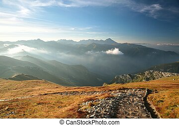 Tatra mountains at dawn - Trail in the Polish Tatra...