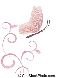 butterfly and flourishes light pink