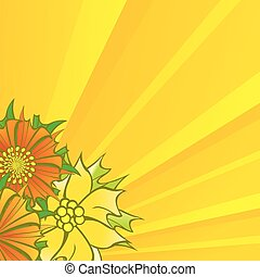 yellow shine background with decorative flowers