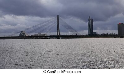 Riga, Latvia. The view to cable stayed bridge and Sun Stone...