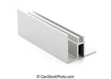 Aluminium profile sample isolated on white background.