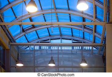glass roof - Semicircular roof of dark blue glass and...