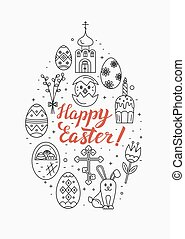 Vector concept of different Easter celebration elements...