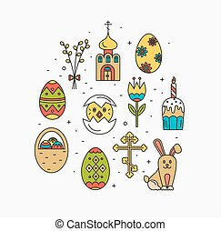 Vector icons set of different Easter celebration elements -...