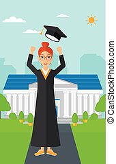 Graduate throwing up his hat. - A happy woman throwing up...