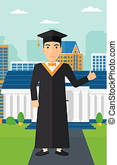 Graduate showing thumb up sign - A man in cloak and hat...