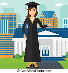 Graduate showing thumb up sign. - A woman in cloak and hat...
