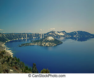 Crater Lake with Wizard Island in Oregon
