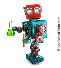 Retro robot with laboratory glassware. Isolated. Contians...