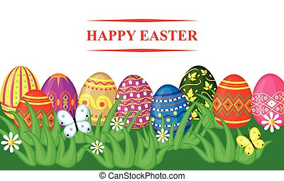 Easter card with decorative eggs in grass
