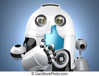 3d robot with LIKE symbol. Contains clipping path