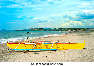 Philippines beach with beautiful sky - Philippines fisherman...