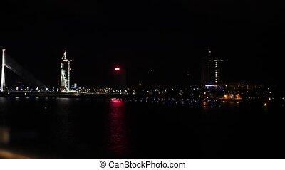 Night Riga, Suspension bridge, real time