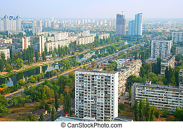 Kiev aerial view, Ukraine - Skyline of the left bank of...