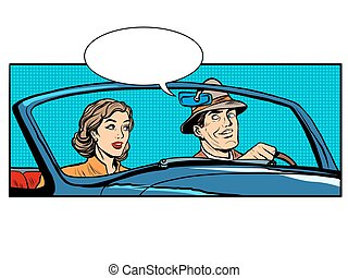 Couple man and woman in convertible car pop art retro style....