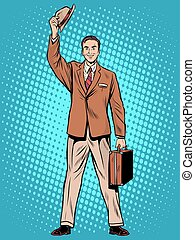 Male passenger welcome pop art retro style. Businessman...