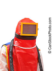 Sandblasting Protection - Sandblasting Worker Wearing Full...