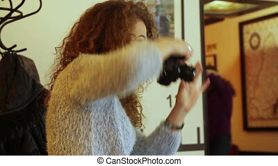 woman photographer at work indoors