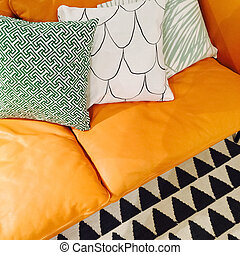 Leather sofa with ornamental cushions - Luxurious leather...