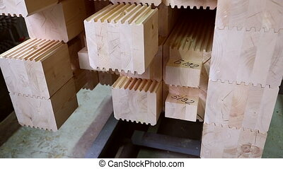 View of laminated veneer lumber stacked, close-up