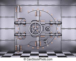 Vault safe bank door in banking room 3d