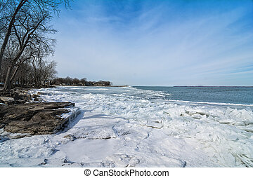 Winter Lake Erie - The icy and cold rocky shore of Lake Erie...