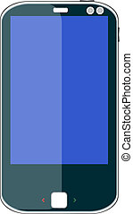 vector smart phone with blue screen isolated