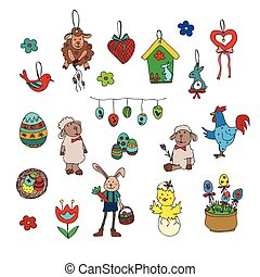 Easter traditional symbols collection - happy easter doodle...