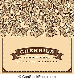 Retro cherry harvest card brown