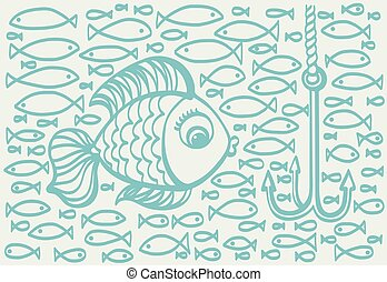 Cartoon drawing illustration of big fish with small fishes...