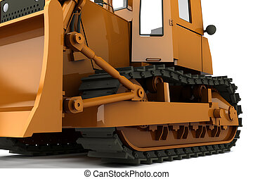 Bulldozer - Orange dirty bulldozer isolated on whiite...