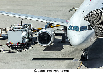 Airlines plane prepares for passengers to board