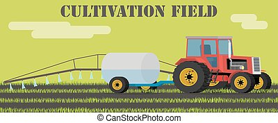 Agriculture design concept - tractor handles field of weeds...