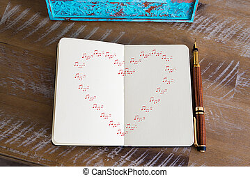 Red heart shape created of music notes - Retro effect and...