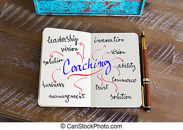 Handwritten text COACHING - Retro effect and toned image of...