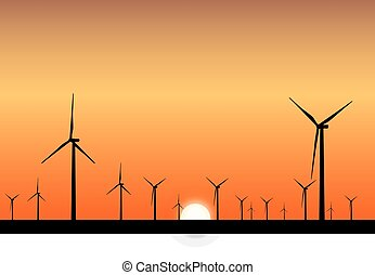 wind power plants at sunset