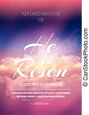 He is risen, vector Easter religious poster template with...