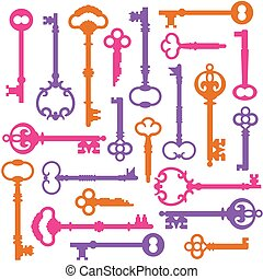 Vintage Keys - Pattern of colorful skeleton keys repeats...