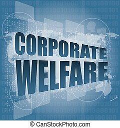 corporate welfare word on business digital screen vector illustration