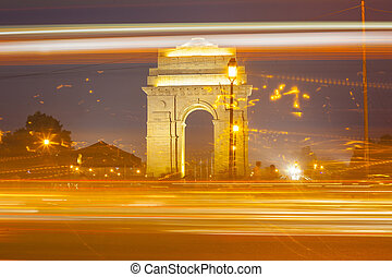 India Gate at night and traffic